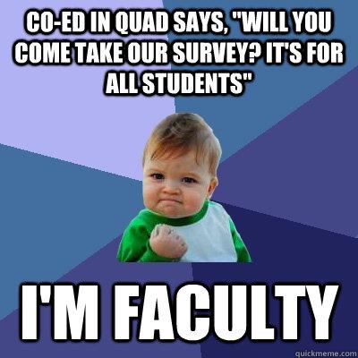 Co-ed in quad says,