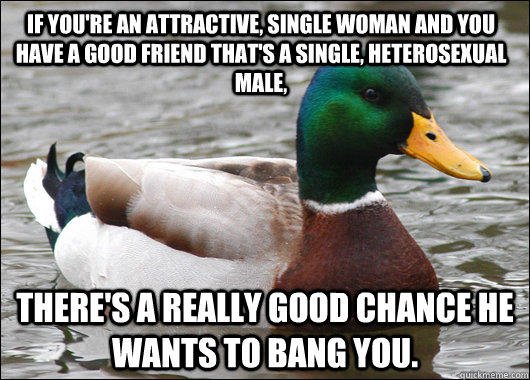 If you're an attractive, single woman and you have a good friend that's a single, heterosexual male, there's a really good chance he wants to bang you. - If you're an attractive, single woman and you have a good friend that's a single, heterosexual male, there's a really good chance he wants to bang you.  Actual Advice Mallard