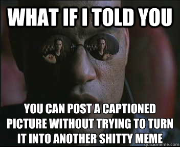 What if I told you You can post a captioned picture without trying to turn it into another shitty meme - What if I told you You can post a captioned picture without trying to turn it into another shitty meme  Morpheus SC