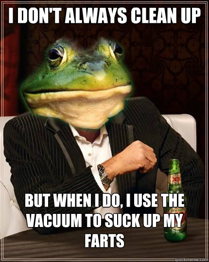 I don't always clean up But when i do, I use the vacuum to suck up my farts