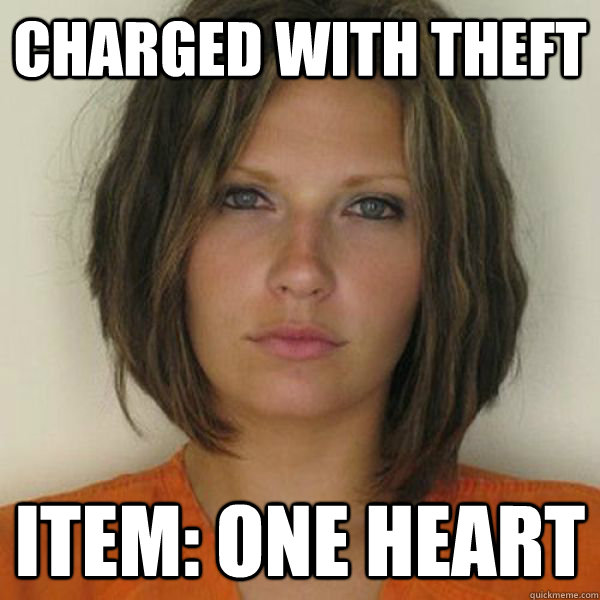 charged with theft Item: one heart - charged with theft Item: one heart  Attractive Convict