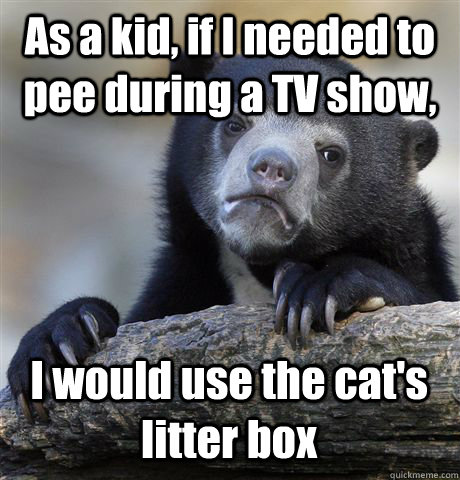 As a kid, if I needed to pee during a TV show, I would use the cat's litter box - As a kid, if I needed to pee during a TV show, I would use the cat's litter box  Confession Bear
