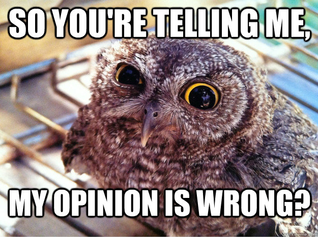 So you're telling me, My opinion is wrong?  Skeptical Owl