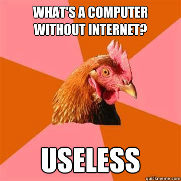 What's a computer without internet?  Useless - What's a computer without internet?  Useless  Anti-Joke Chicken