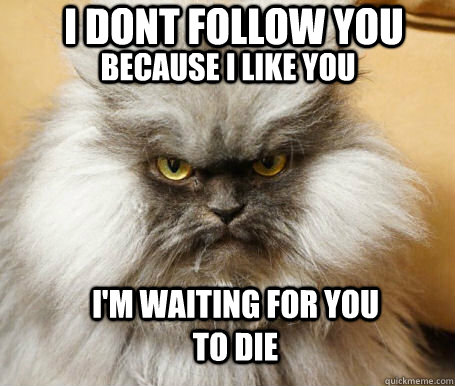 I dont follow you because i like you I'm waiting for you to die