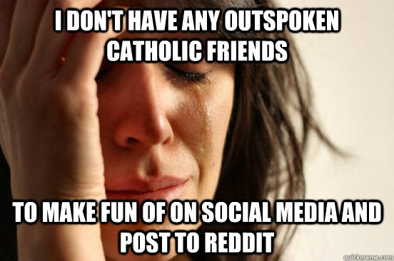I don't have any outspoken catholic friends to make fun of on social media and post to reddit - I don't have any outspoken catholic friends to make fun of on social media and post to reddit  First World Problems