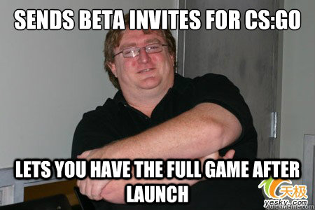 sends beta invites for cs:go lets you have the full game after launch
