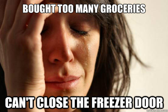 bought too many groceries can't close the freezer door - bought too many groceries can't close the freezer door  First World Problems