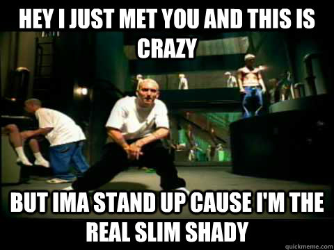 Hey i just met you and this is crazy but ima stand up cause I'm the real slim shady  Eminem