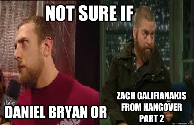 not sure if  Daniel Bryan or zach galifianakis from Hangover part 2