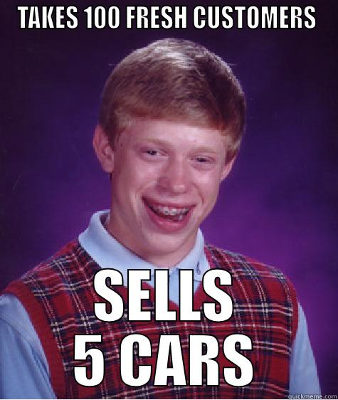 CAR SALES MEME - TAKES 100 FRESH CUSTOMERS SELLS 5 CARS Bad Luck Brian