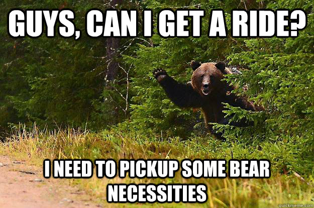Guys, can I get a ride? I need to pickup some bear necessities - Guys, can I get a ride? I need to pickup some bear necessities  Bearly There