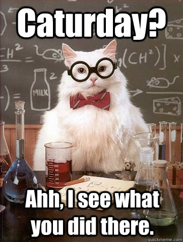 Caturday? Ahh, I see what you did there. - Chemistry Cat ...