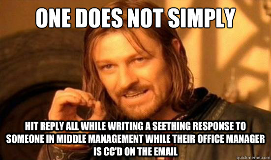 One Does Not Simply Hit reply all while writing a seething response to someone in middle management while their office manager is cc'd on the email - One Does Not Simply Hit reply all while writing a seething response to someone in middle management while their office manager is cc'd on the email  Boromir
