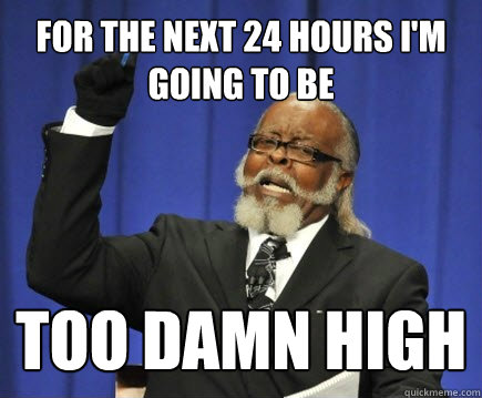 for the next 24 hours I'm going to be too damn high - for the next 24 hours I'm going to be too damn high  Too Damn High