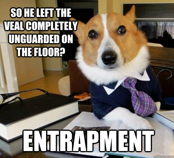 SO HE left the veal completely unguarded on the floor? ENTRAPMENT - SO HE left the veal completely unguarded on the floor? ENTRAPMENT  Lawyer Dog