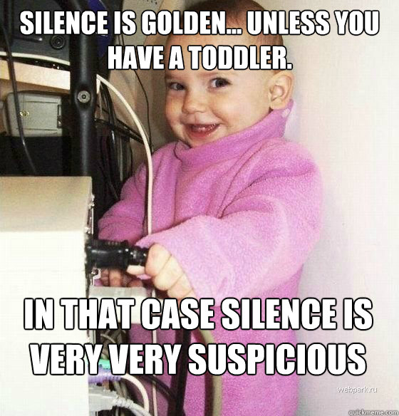 Silence is golden... unless you have a toddler. In that case silence is very very suspicious