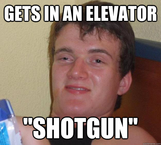 Gets in an elevator