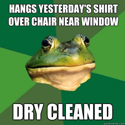 hangs yesterday's shirt over chair near window dry cleaned - hangs yesterday's shirt over chair near window dry cleaned  Foul Bachelor Frog