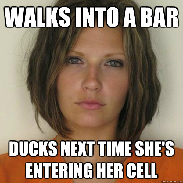 Walks into a bar ducks next time she's entering her cell - Walks into a bar ducks next time she's entering her cell  Attractive Convict