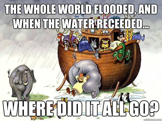 The whole world flooded, and When the Water Receeded... Where did it all go?  Noahs Ark