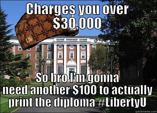 CHARGES YOU OVER $30,000 SO BRO I'M GONNA NEED ANOTHER $100 TO ACTUALLY PRINT THE DIPLOMA #LIBERTYU Scumbag University