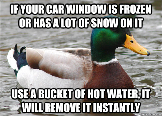 If your car window is frozen or has a lot of snow on it  Use a bucket of hot water, it will remove it instantly - If your car window is frozen or has a lot of snow on it  Use a bucket of hot water, it will remove it instantly  Actual Advice Mallard