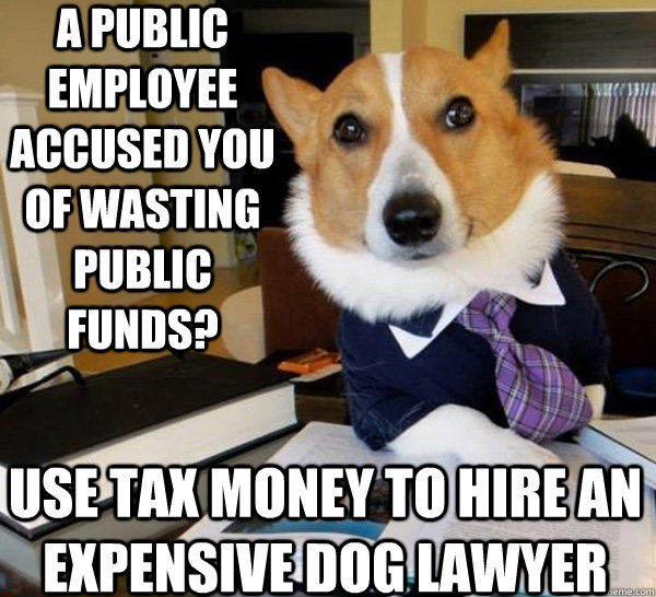 A public employee accused you of wasting public funds? Use tax money to hire an expensive dog lawyer  - A public employee accused you of wasting public funds? Use tax money to hire an expensive dog lawyer   Lawyer Dog