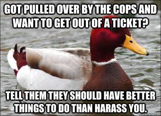 Got pulled over by the cops and want to get out of a ticket? Tell them they should have better things to do than harass you. - Got pulled over by the cops and want to get out of a ticket? Tell them they should have better things to do than harass you.  Malicious Advice Mallard
