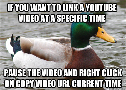 If you want to link a youtube video at a specific time Pause the video and right click on copy video url current time - If you want to link a youtube video at a specific time Pause the video and right click on copy video url current time  Actual Advice Mallard