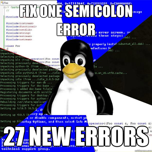 Fix one semicolon error 27 new errors