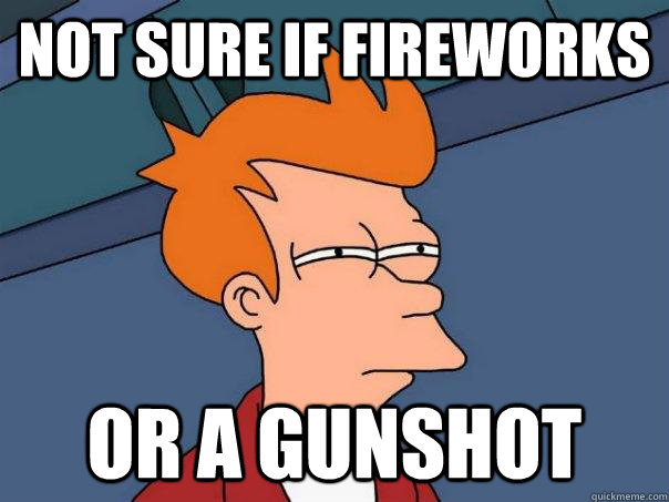 not sure if fireworks or a gunshot - not sure if fireworks or a gunshot  Futurama Fry