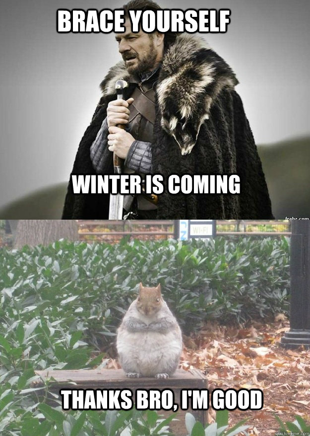 Brace yourself winter is coming thanks bro, I'm good