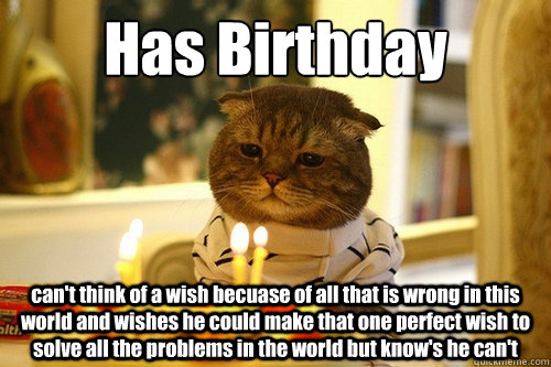 Has Birthday can't think of a wish becuase of all that is wrong in this world and wishes he could make that one perfect wish to solve all the problems in the world but know's he can't