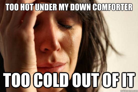 Too hot under my down comforter Too cold out of it - Too hot under my down comforter Too cold out of it  First World Problems