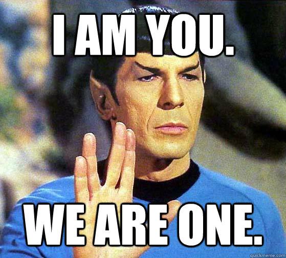 I am you. We are one. - I am you. We are one.  Spock Mind Meld