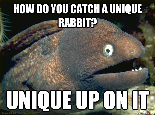 How do you catch a unique rabbit? Unique up on it  Bad Joke Eel