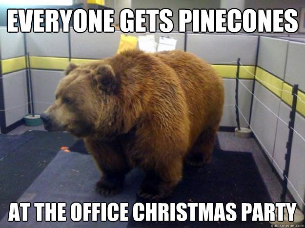 everyone gets pinecones at the office christmas party