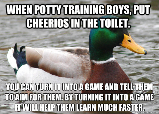 When potty training boys, put Cheerios in the toilet. You can turn it into a game and tell them to aim for them. By turning it into a game it will help them learn much faster. - When potty training boys, put Cheerios in the toilet. You can turn it into a game and tell them to aim for them. By turning it into a game it will help them learn much faster.  Actual Advice Mallard
