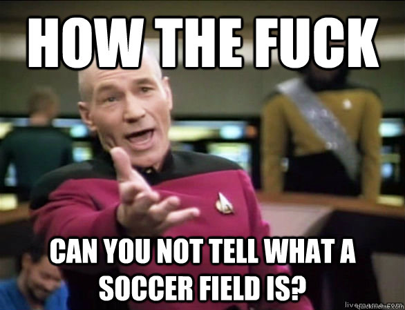 how the fuck can you not tell what a soccer field is? - how the fuck can you not tell what a soccer field is?  Annoyed Picard HD