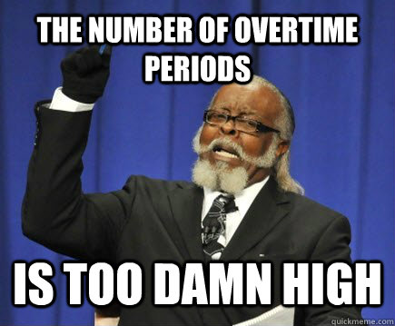the number of overtime periods is too damn high - the number of overtime periods is too damn high  Too Damn High