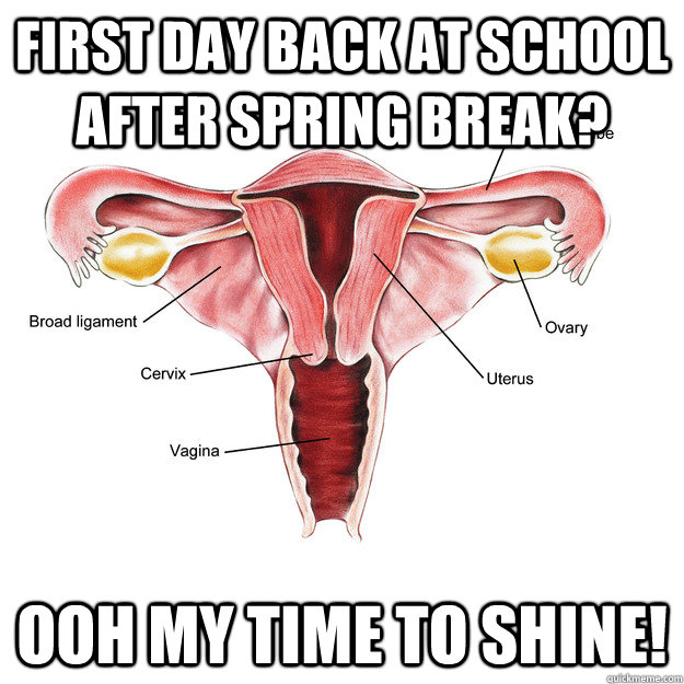 first day back at school after spring break? ooh my time to shine! - first day back at school after spring break? ooh my time to shine!  Scumbag Uterus