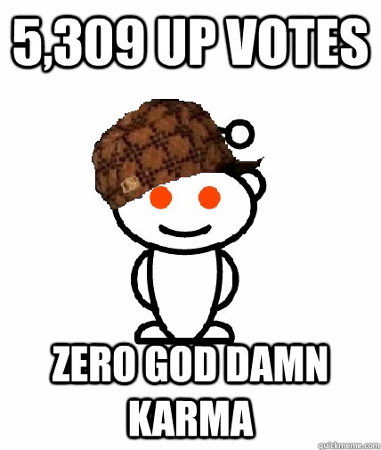 5,309 up votes ZERO GOD DAMN KARMA - 5,309 up votes ZERO GOD DAMN KARMA  Scumbag Redditor