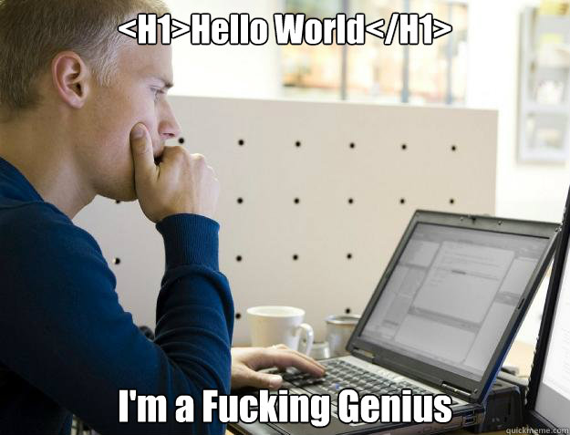 <H1>Hello World</H1> I'm a Fucking Genius  - <H1>Hello World</H1> I'm a Fucking Genius   Programmer