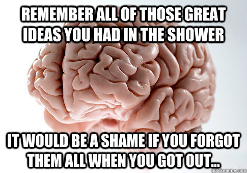 Remember all of those great ideas you had in the shower It would be a shame if you forgot them all when you got out... - Remember all of those great ideas you had in the shower It would be a shame if you forgot them all when you got out...  Scumbag Brain