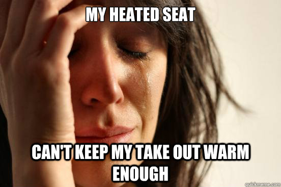 my heated seat can't keep my take out warm enough - my heated seat can't keep my take out warm enough  First World Problems