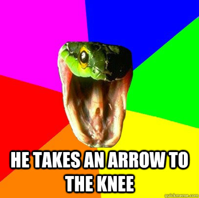 he takes an arrow to the knee  Spoiler Snake