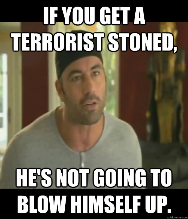 If you get a terrorist stoned, He's not going to blow himself up.