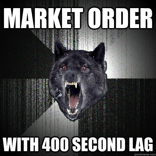 Market order   with 400 second lag - Market order   with 400 second lag  Insanity Wolf
