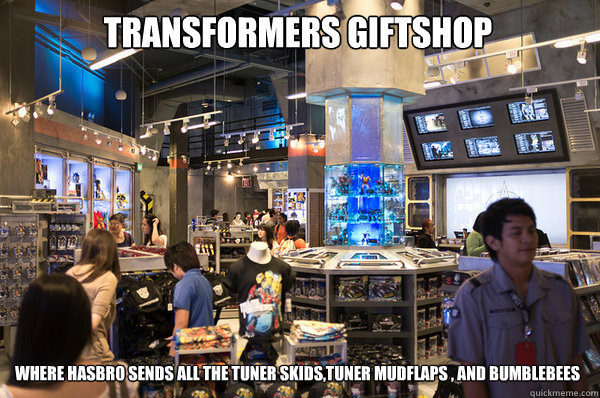 transformers giftshop where hasbro sends all the tuner skids tuner mudflaps   and bumblebees